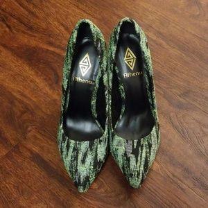 Green Athena heels